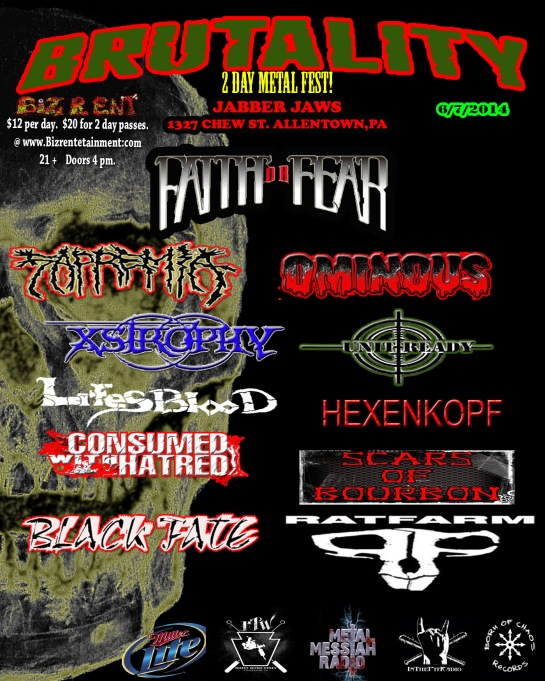 BRUTALITY FEST ALLENTOWN PA  (2 DAYS) CLICK ON POSTER FOR DIRECT 2 DAY PASS !!