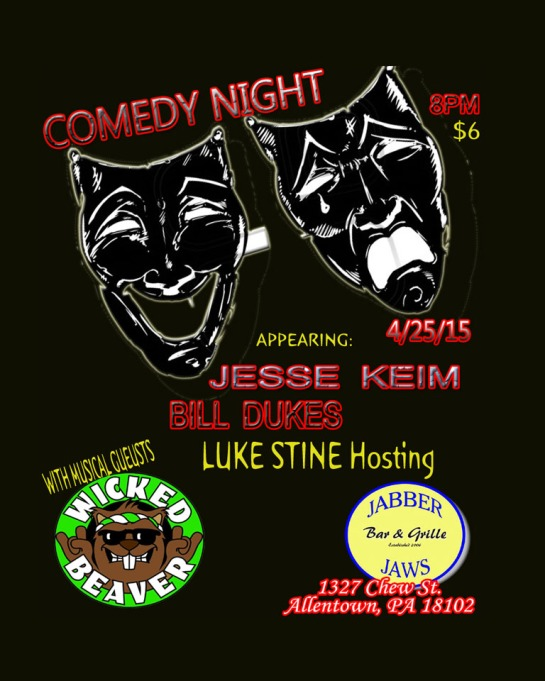 "Aprils COMEDY NIGHT Features : Comedians - Jesse Keim Comedy Bill Dukes Luke Stine Comedy MC & Hosting (Musical Guest between sets. Wicked Beaver.) $ 6 bucks cover Doors 7:30 Pm 18 + with ID 21 to Drink Drink and ""Dinner basket specials"" $2 draft special and Marys Famous Dinner Baskets $5"