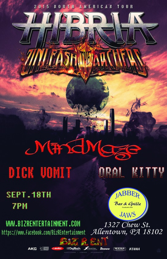 HIBRIA (Brazil) & Unleash The Archers (Canada) US Tour MindMaze with DICK VOMIT (PA Trash) & Oral Kitty 18+
