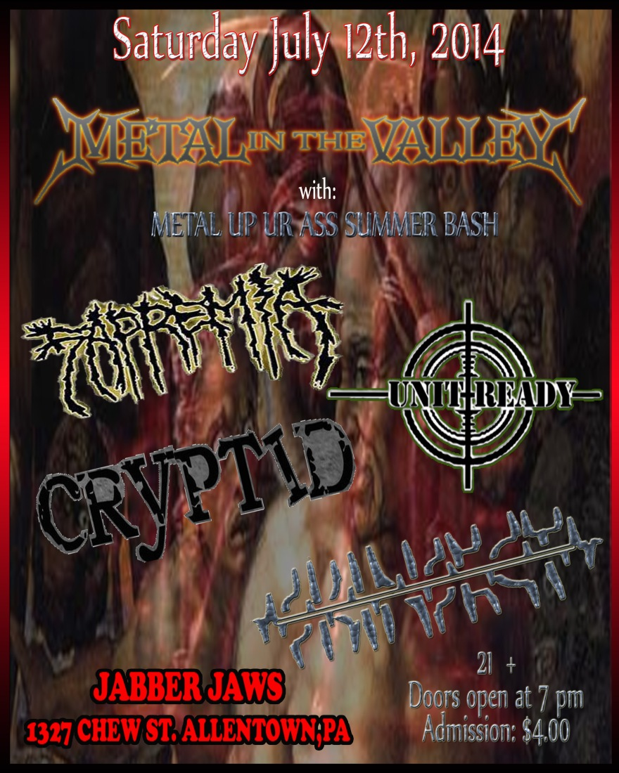 SAPREMIA , UNIT READY , SKINSECT ,CYRPTID 21 +  ( LADIES NIGHT ) DOORS @ 7 PM