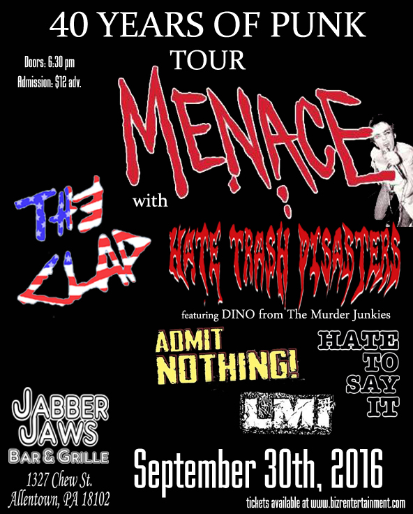 Tickets on sale now .. you will be 1st admitted to the event .. thanks to you all and to my old friends Frank Foe ,my new friend Patryk Boyle and John Loftus and all who are keeping the music out there letting all know merch ... will be in FULL effect !! looking forward Hope we will see one and all CELEBRATE . .. 40 YEARS Punk rock cheers