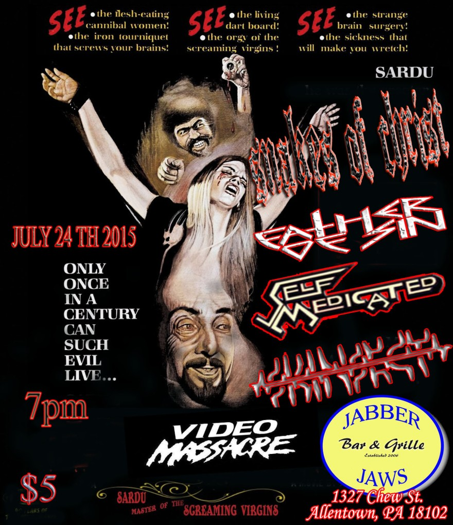 Snakes of Christ (Female Fronted Danzig TRIBUTE) Father Of Sin B-DAY BASH, SELF MEDICATED, SKINSECT Video Massacre .. 7:30 PM 18+ ALL EVENT BOOKINGS @ DARKONESKIP@GMAIL.COM