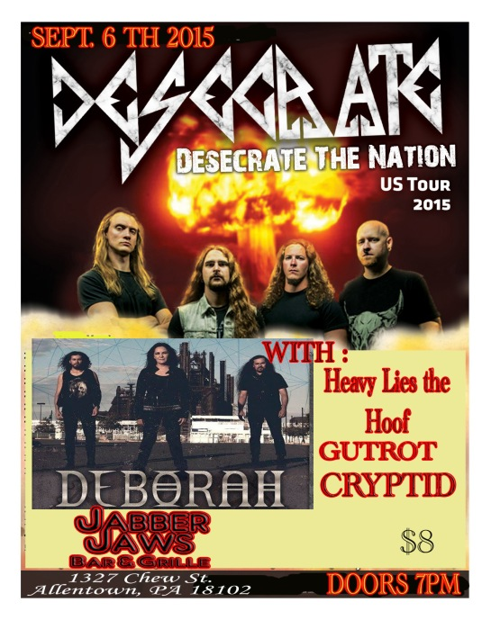 DESECRATE (Calif.) , Deborah (Mexico City ) w/ Heavy Lies the Hoof , GUTROT , Cryptid 7 PM 18+