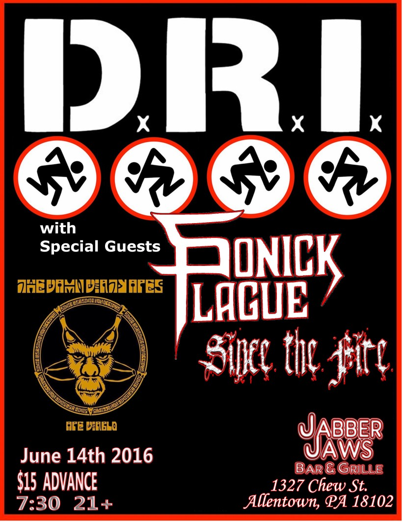 Dirty Rotten Imbeciles (DRI) with Special Guests Doors 7:30 Pm Tickets 15 bucks (on sale monday 4/18/16)